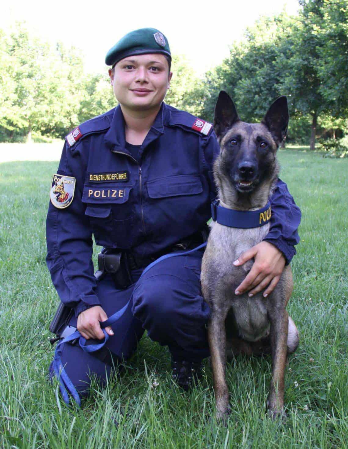 Revierinspektor Daniela F. und Polizeidiensthündin Evita Foto: © LPD Wien