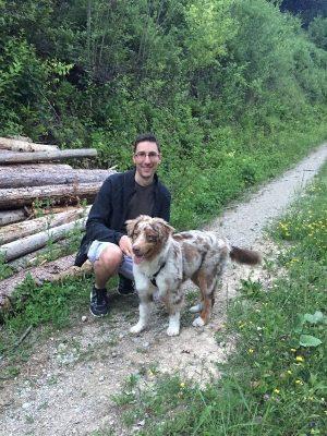 Australian Shepherd Liam mit Herrchen Christian