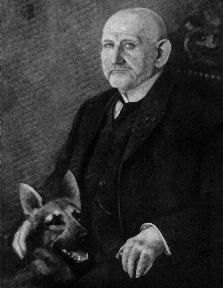 Schwarz-Weiß-Foto von Max von Stephanitz mit seinem Deutschen Schäferhund Horand von Grafarth