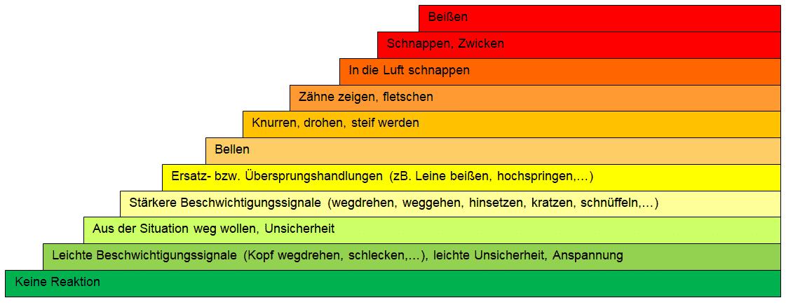 Tabelle der verschiedenen Eskalationsstufen eines Hundes
