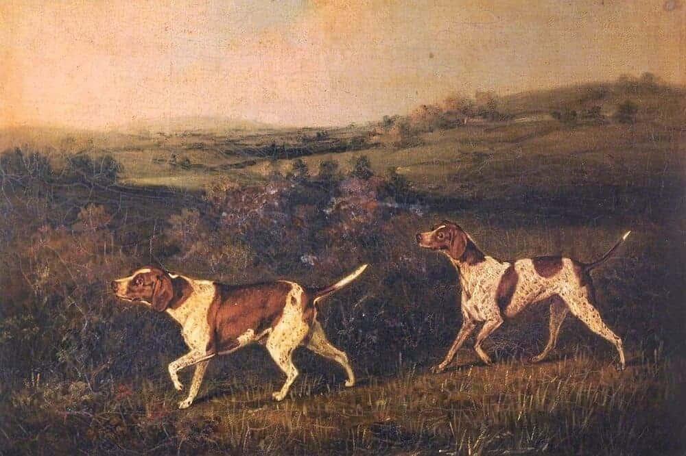 Das Gemälde zeigt zwei English Pointer in einer Landschaft.