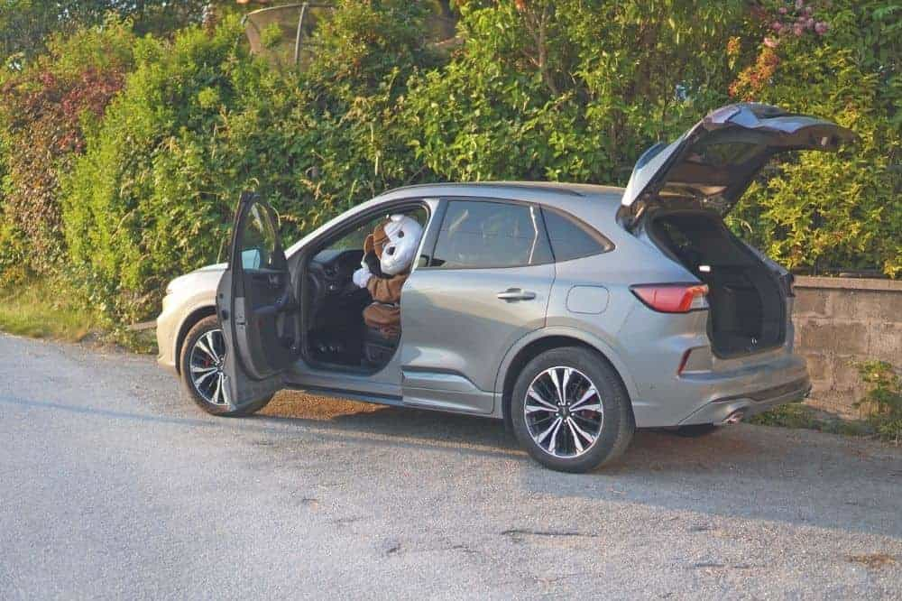 ein Auto steht mit offener Fahrertür und Kofferraum am Straßenrand und der Fahrer hat ein Hundekostüm an.