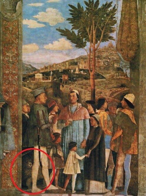 """Das Fresko """"Die Rückkehr der Kardinals Gonzaga"""" von Andrea Mantegna zeigt einen Hund, der dem Spinone Italiano sehr ähnlich sieht."""