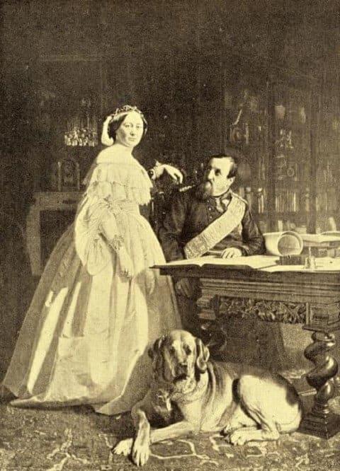 Portrait von König Friedrich VII. und Gräfin Danner mit einem Broholmer.